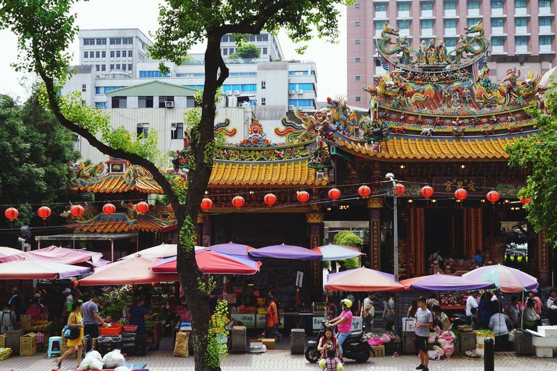 Morning Temple Market Cityscape Architecture Tree Plant Nature Building Umbrella Outdoors Group Of People