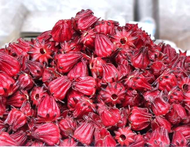 Fresh rosella or hibiscus flowers are sold at the market. They are used to make a refreshing drink. Red Food Freshness Market For Sale Fruit Roselle Fruit Hibiscus 🌺 Sour Taste Herbs Organic Food Natural Food Rosella Flower