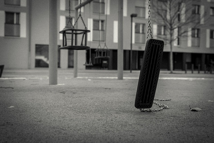 Close-up of tire swing at park