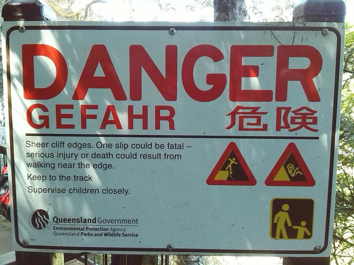 Warning sign (Lamington National Park/Australia)---Danger! Text Red Warning Warning Sign Lnp Queensland Australia Danger Lamington National Park Subtropical National Park 2014