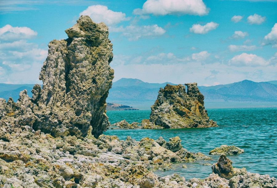 Beauty In Nature Cloud - Sky Day Horizon Over Water Monolake Nature No People Outdoors Rock - Object Rock Formation Scenics Sea Sky Tranquil Scene Tranquility Tuff Water