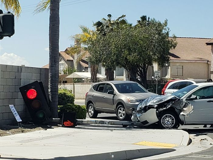 uh oh Stoplight Accident Auto Tree City Car Sky Architecture Built Structure
