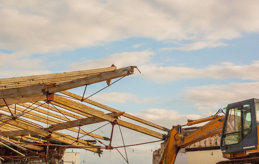 Architecture Cloud - Sky Day Demolition Zone Excavator No People Outdoors Roof Sky