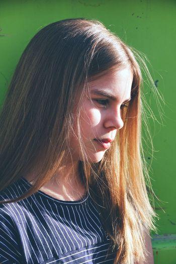 Close-up of beautiful girl outdoors