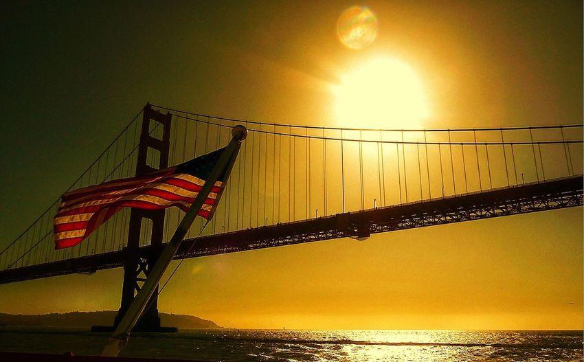 Golden Gate Bridge, San Francisco, California, Sunset, USA, United States, Flag first eyeem photo EyeEmNewHere Be. Ready.
