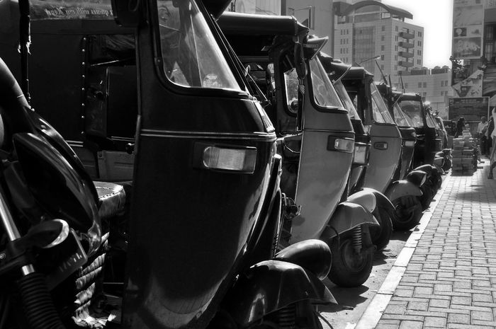 B&w Street Photography Black And White Blackandwhite City Life Close Up Close-up Mode Of Transport No People Retro Styled Technology Threewheel Transportation Urban