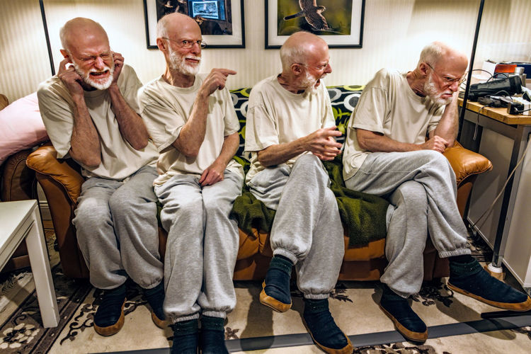 Multiple image of senior man sitting on sofa at home