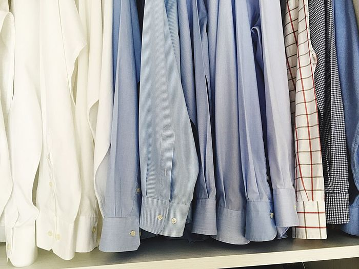 Beautifully Organized Shirts Clothing Textile Menswear Hanging Neat Choice Large Group Of Objects No People Indoors  Laundry Variation Well-dressed Close-up Hygiene Day