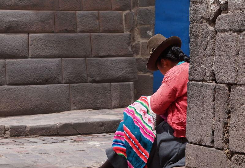 Brick Wall Chola Cusco, Peru Indigenous  Indigenous Art Leisure Activity Lifestyles Outdoors Textile Women Around The World