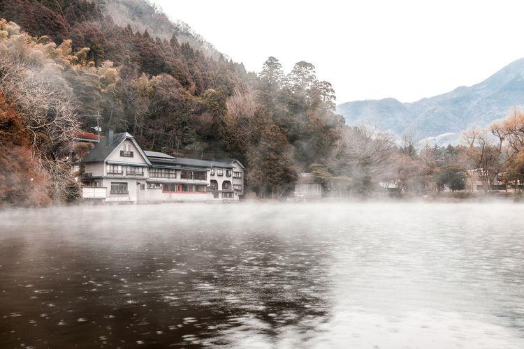 Kinrin lake is a famous landmark of yufuin town in kyushu island, japan.