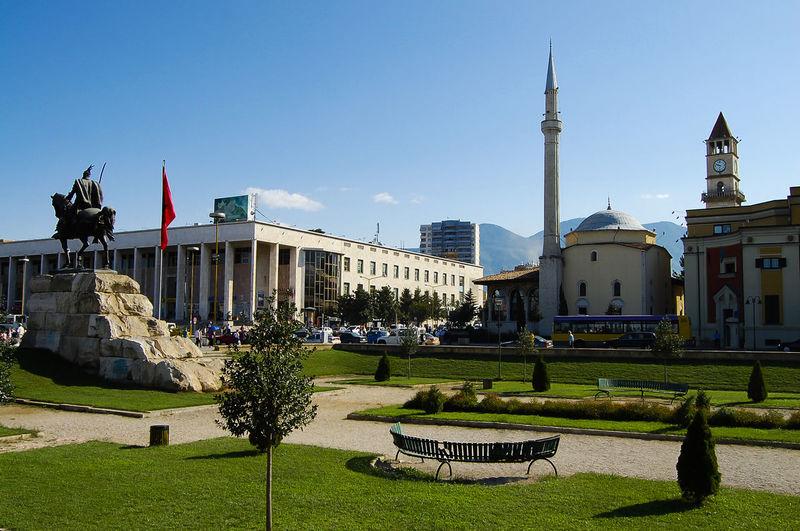 Skanderbeg Square - Tirana - Albania Albania Skanderbeg Skanderbeg Square Tirana Architecture Built Structure City Main Square Statue