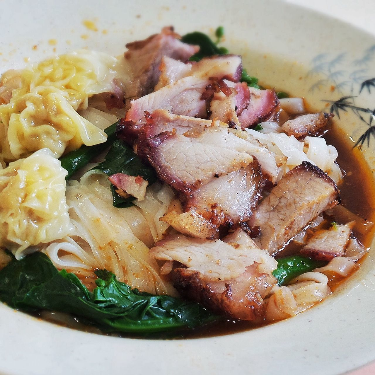Pork Meat With Pasta And Cabbage
