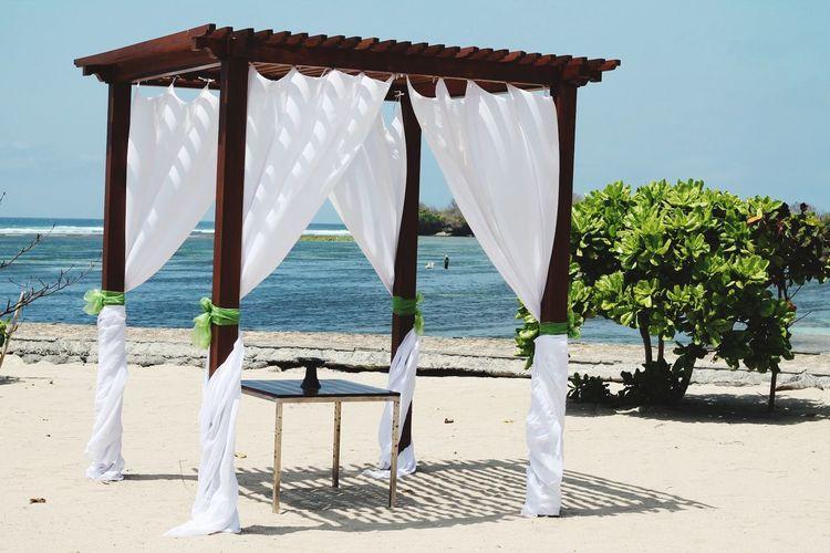 EyeEm Selects Sea Water Beach Sand Summer Wood - Material Chair Sky Horizon Over Water