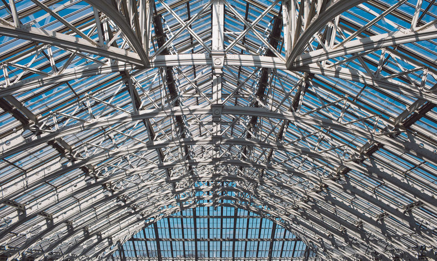 Built Structure Architecture Low Angle View Pattern Ceiling Metal No People Full Frame Day Indoors  Modern Glass - Material Backgrounds Roof Geometric Shape Sunlight Alloy Design Blue Steel Glass Architecture And Art Directly Below