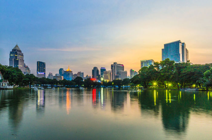 Bangkok Thailand Building Building Exterior Built Structure City Light And Shadow Lumpini Park Office Building Reflection River Sunset Tower Tree Water Waterfront Light Bangkok View Nature In The City City Of Life BKK Landscape