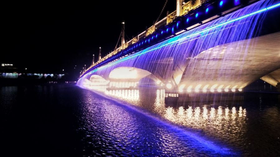 Night Illuminated Bridge - Man Made Structure Architecture Reflection Travel Destinations River Water No People Built Structure Outdoors City Sky Clock Face