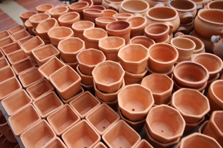High angle view of pots on table