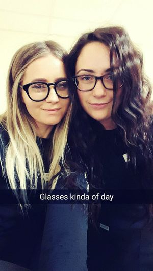 Glasses Kinda Day Long Hair, Don't Care. Brunette Blonde Girl Friends Taking Classes
