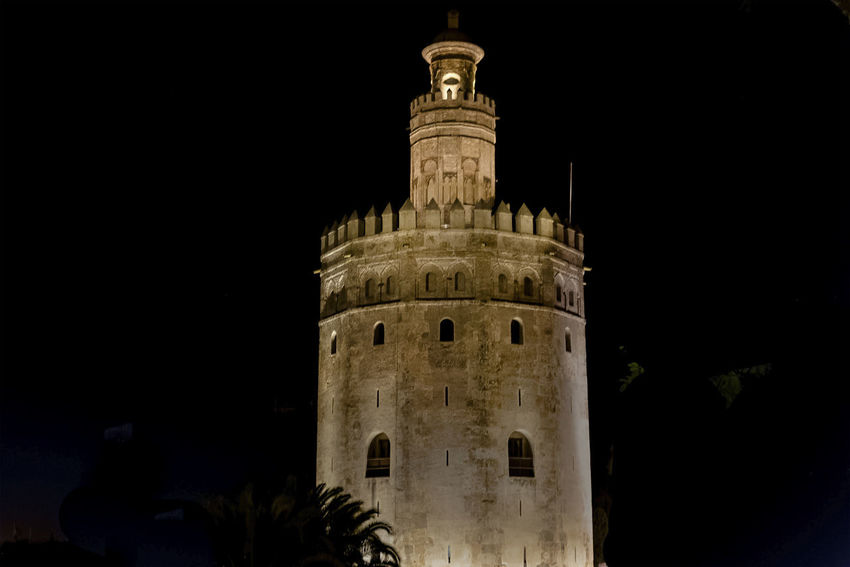 golden tower Golden Tower Building Architecture Black Background Building Exterior Built Structure History Low Angle View Night No People Outdoors Siville Sky Travel Destinations