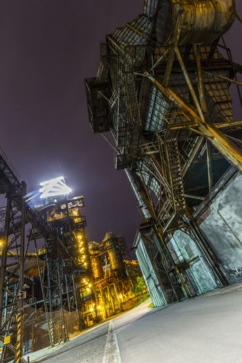 Architecture Built Structure Business Finance And Industry City Cityscape Coalmine Dolni Oblast Vitkovice Factory Futuristic Illuminated Industry In City Industry Vs Nature Long Exposure Night Night Sky No People Outdoors Sky Skyscraper Steel Factory Travel Destinations Vitokovice