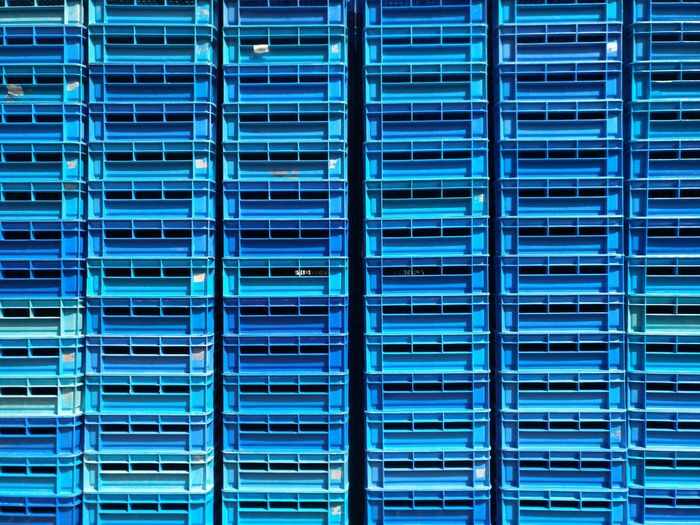 Full frame shot of blue metal grate