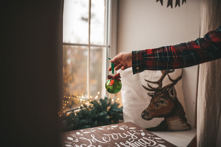 Midsection of man with christmas tree at home