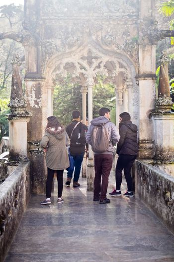 Quinta da Regaleira Palace in Sintra, Portugal. Palaces Portugal Quinta Da Regaleira Sintra Sintra (Portugal) Sintra Palace Park Sintra, Portugal Architecture Built Structure Palace Real People Sintracastle Sintralovers Togetherness Tourism First Eyeem Photo