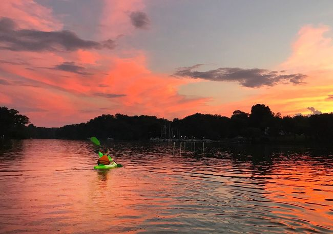 Sunset Water Cloud - Sky Kayak Kayaking Kayaker Sky Beauty In Nature Nature Real People One Person Outdoors Nautical Vessel Scenics Silhouette Lake Chesapeake Bay Maryland Reflection The Week On EyeEm