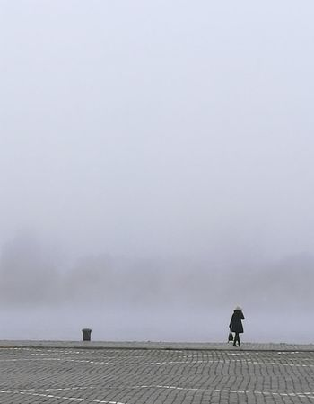 Outdoors Fog Alonetime Alone No Color Toughts River Side Antwerp, Belgium Schelde