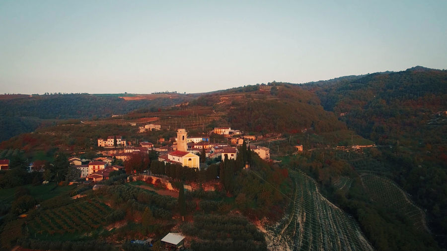 Campiano Italian Hills Aerial Aerial View Beautiful Church Countryside Drone  Flight Fly Fog Forest Green High Hill Landscape Mountain Nature Outdoor Panorama Panoramic Scenic Sky Summer Town Valley Verona View Village