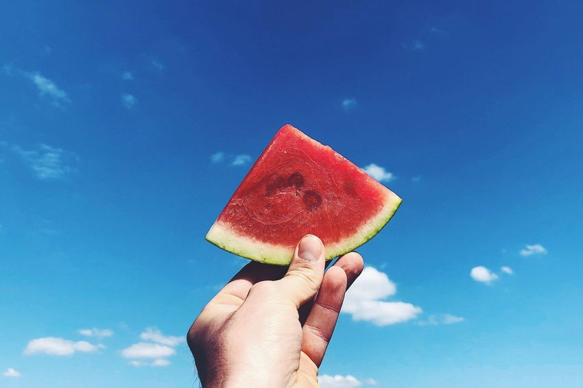 The Week on EyeEm Summer The Still Life Photographer - 2018 EyeEm Awards The Great Outdoors - 2018 EyeEm Awards Foodphotography Colors Summer EyeEm Selects Human Hand Hand Holding Human Body Part Watermelon Food And Drink Fruit One Person Blue Food Healthy Eating Sky Real People Body Part Unrecognizable Person Personal Perspective Wellbeing Lifestyles Human Finger Finger