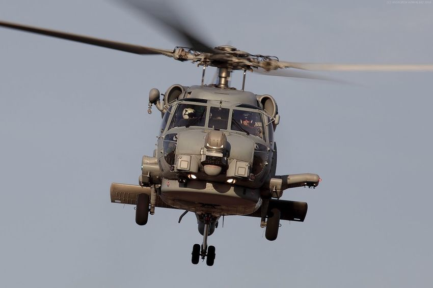 Aerospace Industry Air Force Air Vehicle Army Aviation Blackhawk Chopper Crew Flying Front View Frontal View Head On Helicopter Mid-air Military Naval No People Outdoors Rotor Seahawk SH-60K Sky Transportation US Navy USN