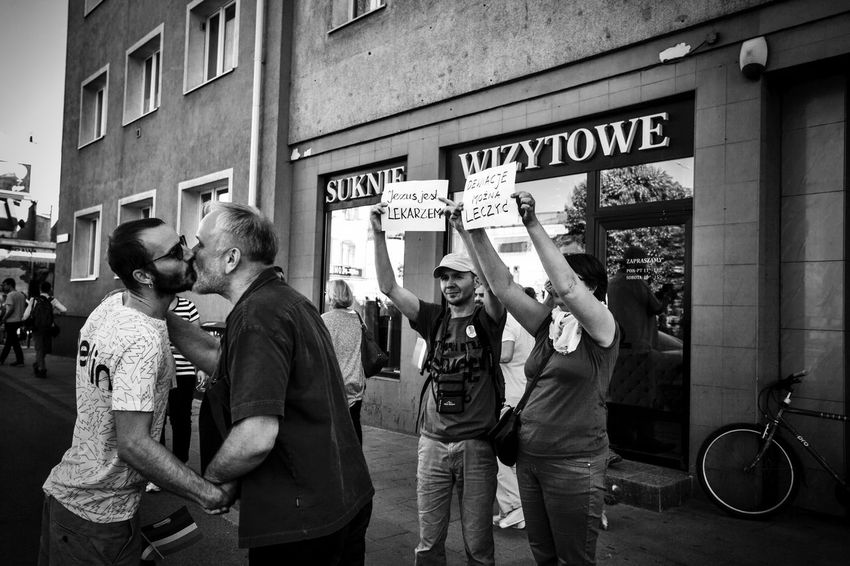 """Tricity Equality March, 27.05,2017, Gdańsk, Poland. March was organized in the name of LGBTQIA rights but also in defense of democracy, freedom and civil liberties. Oponnents show banners """"Jesus is a doctor"""" and """"Deviatios can be treated"""" City Communication Equal Rights  Equality Lgbt LGBT Parade Lgbt Pride March Real People The Photojournalist - 2017 EyeEm Awards"""