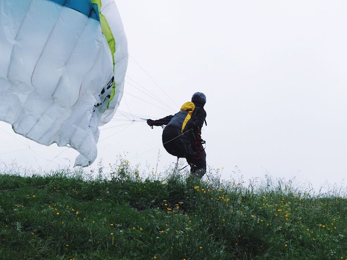 Paragliding Outdoors Sport Flying High Flying In The Sky Adventure Club Adventure Buddies Sports Leisure Activity Nature Foggy Morning Mountain Outdoor Photography at Engelberg Switzerland