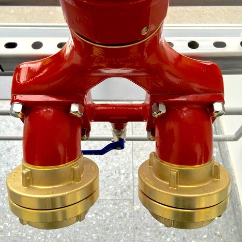 Fire Fireprotection Hydrant Fireplug Red Architecture Gold Facilities Building Armatures Security Regulations Protection Catastrophe Prevention Firefighter Water Extinguishing Fire Extinguisher Technology Technics Double Germany Blue Silver
