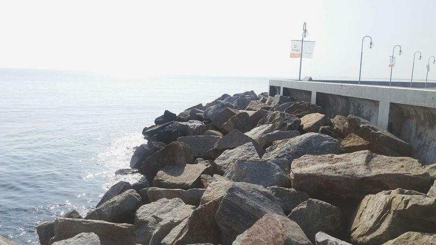 Sea Water Horizon Over Water Rock - Object Beach Beauty In Nature Travel Destinations Tranquility Tranquil Scene Built Structure Scenics Stone - Object Coastline Rock Tourism Shore Nature Pier Groyne Railing Miss Poland Summertime Summer Sky Photography