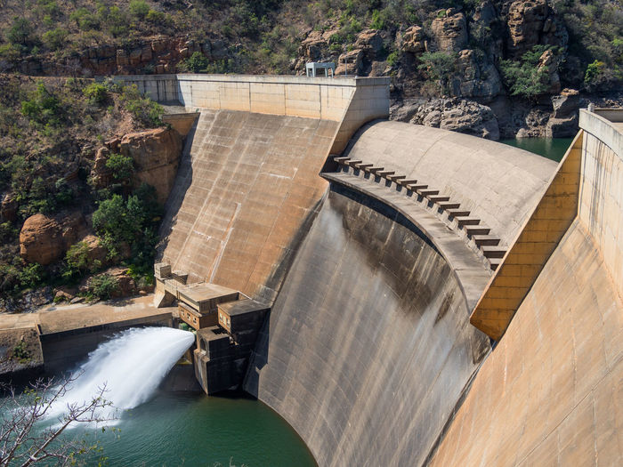 High Angle View Of Dam By Blyde River, South Africa