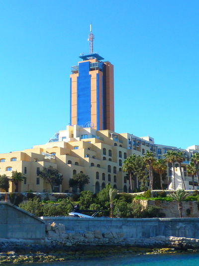 Malta Portomaso Tower San Giljan Paceville Mediterranean  Mediterranean Sea Water Architecture Building Exterior Built Structure Building Sky Travel Destinations Clear Sky Blue Tower No People Day Outdoors