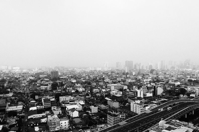 High angle view of cityscape against clear sky