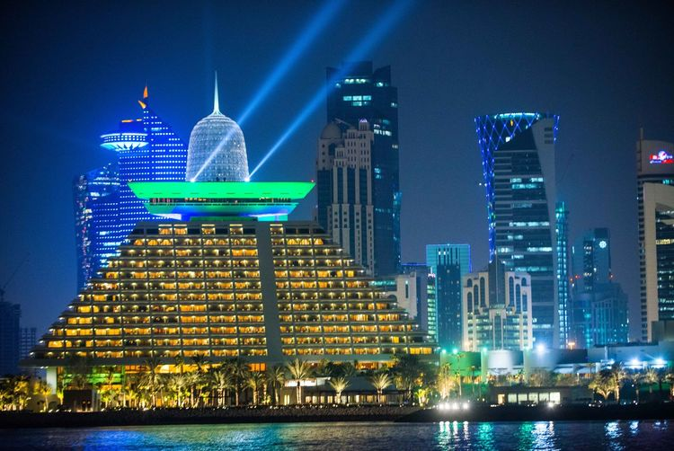 Doha Skyline Dezember 2016 Doha,Qatar Nacht Qatif Skyline Am Abend Katar