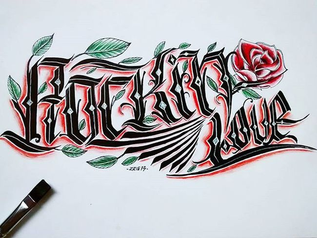""" Rock'in Love "" Handstyle Handlettering Brush Art ArtWork Calligraphy Kaligrafina Tatto Design Illustration Drawing Font Typography Typo Belmenid Rosé Rock Rocknroll Doodle Daily Handmadefont Handmade Ink Instagood INDONESIA"