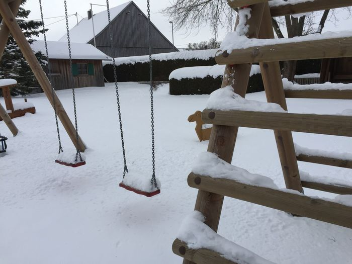 Cold Temperature Day Frozen Ice Nature No People Playground Slide - Play Equipment Winter