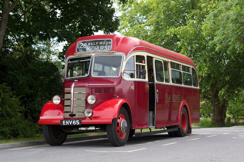 Vintage transport. Bus Red Color Transportation Land Vehicle Day Tree Outdoors Travel Destinations Travel Local Hampshire, UK
