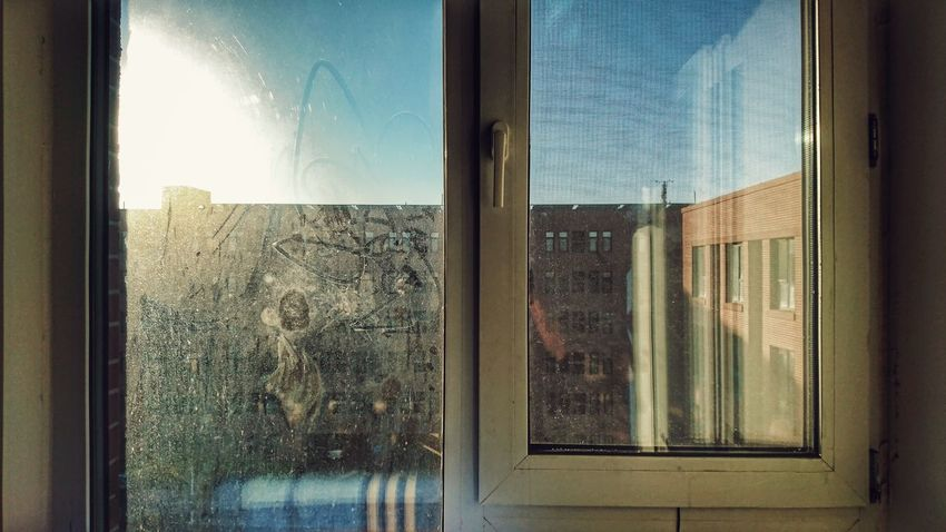Window Glass - Material Transparent Looking Through Window Indoors  Day Window Sill Reflection Curtain Architecture Sky Frosted Glass No People Close-up Window Washer Winter Morning Golden Light Golden Hour Sun Sky Blue Sky Tianjin Phone Photography Mobile Photography The Architect - 2018 EyeEm Awards