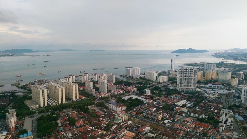 City Cityscape Sunset Skyscraper Sea Architecture Building Exterior Urban Skyline Travel Destinations Outdoors Sky Growth Cloud - Sky Nature Development Tranquility Water No People Downtown District Georgetown Penang Heritage Komtar The Top