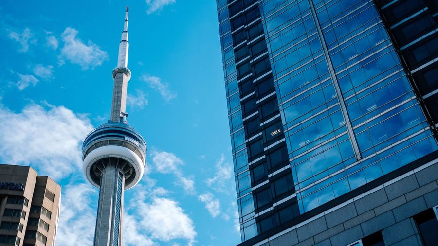 Built Structure Low Angle View Skyscraper Tall - High City Tower Day Modern Travel Destinations Cntower Toronto