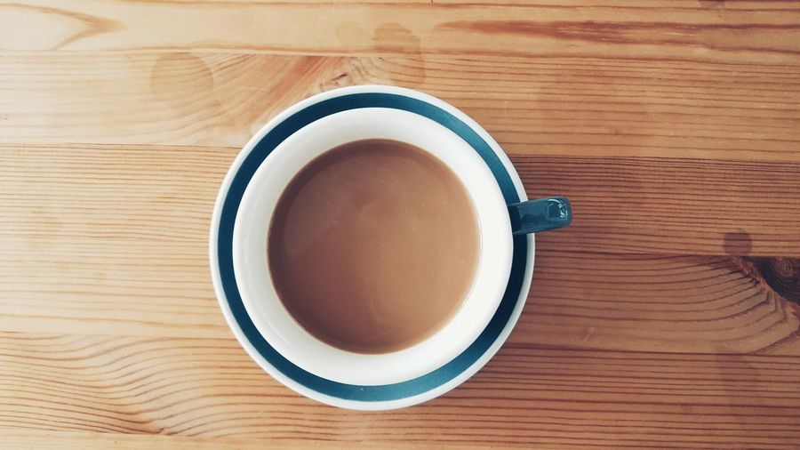 Blue Cup of Coffee on Wooden Table in the Morning Directly Above High Angle View Refreshment Coffee - Drink Day Freshness Drink Fresh Top View Chill Quiet Peaceful Calm