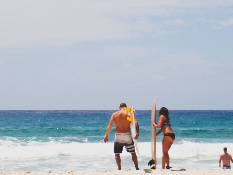 Adult Beach Bikini Top Bonding Cloud - Sky Couple Day Friendship Happiness Horizon Over Water Leisure Activity Nature Outdoors People Real People Sea Sky Standing Summer Surfers Togetherness Two People Vacations Water Young Adult Live For The Story Done That.