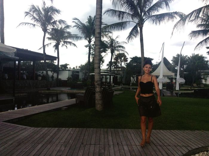 Full Length Palm Tree One Woman Only Green Color Balinese Life Balinesegirl Looking At Camera Bali, Indonesia Wind Of Change Love To Take Photos ❤