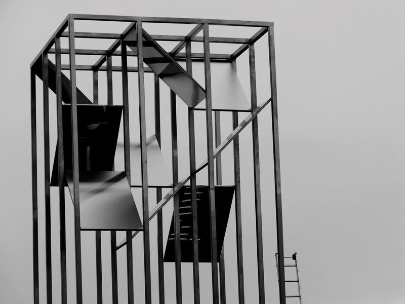 'Observer' Snape Maltings Sculpture Metal Metallic Reflections Reflection Ladder Black And White Art -- B